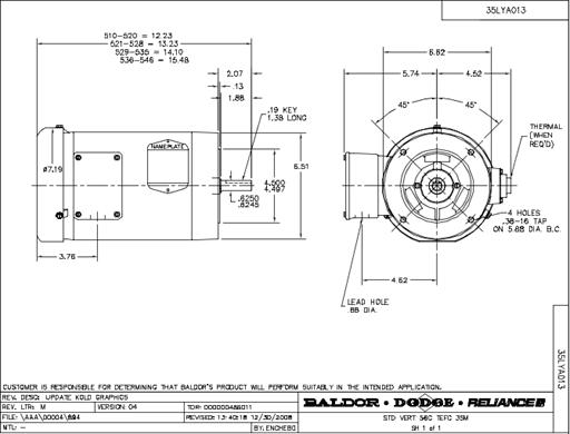Vm3546 50 1 hp 220 380 440 vac 3 ph 56c frame c for 56c frame motor dimensions
