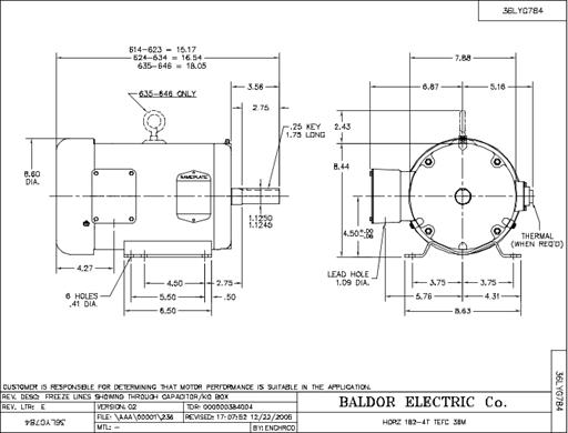 Baldor Electric M3615T, 5 Hp, 1800 Rpm, 184T FR, 230/460 Vac, 3 PH on